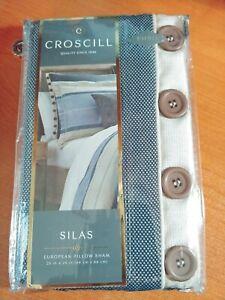 NEW! Croscill SILAS Blue & Cream European Pillow Sham MSRP $49.99