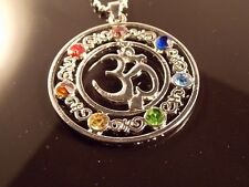 HEALING ENERGY CHARGED 7 COLOUR GLASS CRYSTAL CHAKRA PENDANT CHAIN YOGA OHM