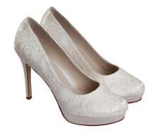 Stunning Rainbow Club 'Ella' Ivory Satin Lace Platform Bridal Shoes Size 4 New