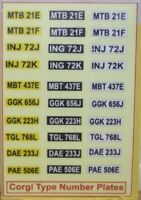 Corgi type number plates ( sticker ) lot A
