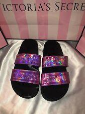 Victorias Secret PINK Slides Iridescent Flip Flops Double Strap Pink Medium