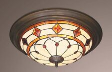 DIAMONDS AND JEWELS TIFFANY STYLE FLUSH CEILING LIGHT ( STUNNING QUALITY )