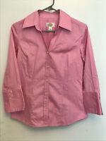 Talbots Women's Size Small Button Down Pink Shirt Top