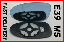 BMW 5 E39 M5 1997-2003  WING MIRROR GLASS BLUE HEATED  CLIP ON LEFT
