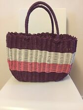 Purple Pink White Plastic Weave Bag Tote Shopper Retro Style Rockabilly