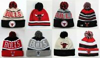Chicago Bulls Pom Top Cuffed Beanie Knit Winter Cap Hat NBA Authentic