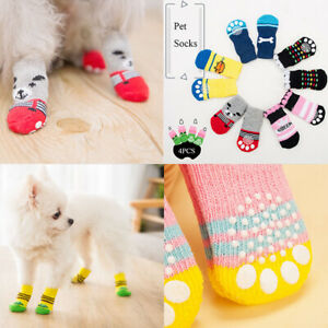 12pcs Pet Socks Dog Cat Anti Slip Teddy Poodle Paw Protector Indoor Warm Shoes #