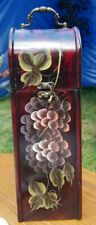Hand-Painted Wooden Wine Box, Vine and Grapes, Metal Handle & Latch