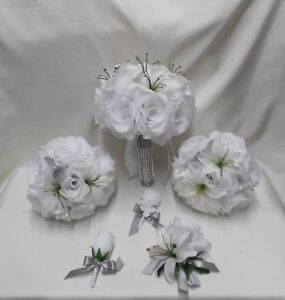 Wedding Silk Flower Bridal Bouquets 18 pcs Package Bride White Lily Silver