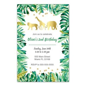 30 invitations jungle animals gold botanical leaves birthday baby shower