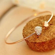 Love Heart Rhinestone Vintage Flower opening Bangle Lady Charm Jewellery Gift UK