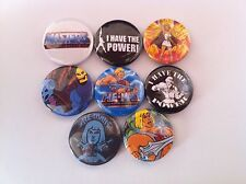 8 He-Man Pin Button badges 25mm She Ra Masters of the Universe Grey Skull