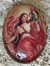 WOMAN GODDESS Glass Oval Dome BUTTON Filigree XL VINTAGE Patriotic Beautiful