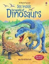 New usborne See Inside the World of Dinosaurs child's board flap book christmas