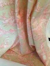 """Natural Pink  Toile De Jouy Linen Weave Ready Made Curtains 48"""" x 50"""" Wide"""