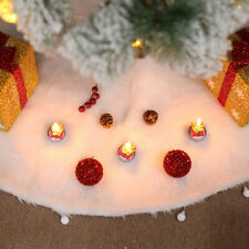 60/78/90/122cm Christmas Snow Plush Tree Skirt Xmas Decor Base Floor Mat Cover