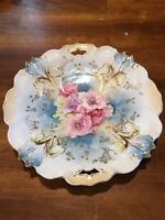 Antique R S Germany Prussia Aqua Floral Rose Embossed Cake Plate Marked EC