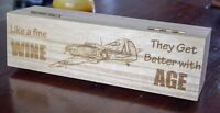 Wine Bottle Wooden Gift Box - Aircraft - Hurricane - Rustic Personalised Gifts