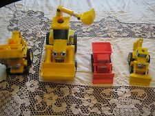 Lot of 4 Bob The Builder Plastic Trucks Talking Construction Vehicles Muck Scoop