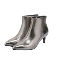 New Womens Leather Pointed Toe Side Zip Kitten Heels Ankle Boots Shoes Plus Size