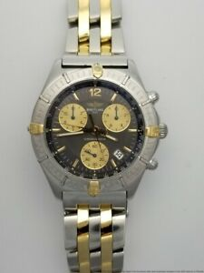 18k Gold SS Breitling Windrider Mens Chronograph Midsize For Large Wrist B53011