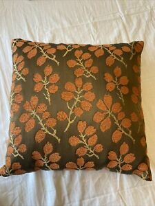 Rust Orange Pier 1 Beaded Embroidered Floral Leaves Brown Throw PIllow