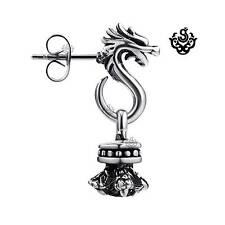 Silver dragon earring made with black swarovski crystal stud SINGLE soft gothic