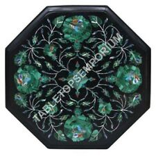 12'' Inlay Malachite Marble Side Table Top Living Room Decorative Furniture E479