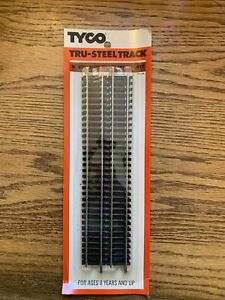 """Tyco HO Scale Tru-Steel 9"""" Straight Track 4 Pieces #417 New Sealed In Package"""