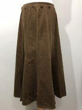 Per Una Midi Corduroy Khaki Brown Panelled Skirt Size UK 10 38