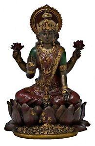 Lakshmi sitzend bronzefarben - Göttin des Glücks Schönheit und Reichtum