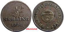 SWEDEN COPPER King Gustaf IV Adolf  1801 1/2 Skilling KM#549