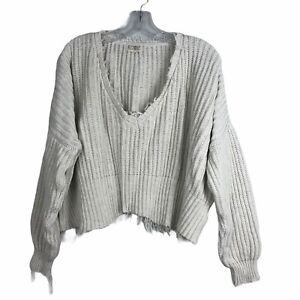 Rowie Crop Knit Sweater Oversize Distressed Cotton Blend M/L Off White Stone