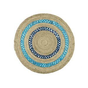 Indian Rug 100% Natural Jute Round Reversible Rugs Braided Style Modern Carpet