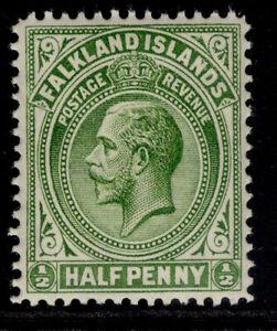 FALKLAND ISLANDS GV SG60a, ½d deep yellow-green, NH MINT. Cat £18. PERF 14