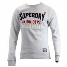 Superdry Men's Core Applique Crew Silver Heather Marl Pull Over Sweat Shirt Sz L