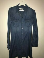 New Abercrombie & Fitch A&F blue denim jean shirt dress women size M Tall