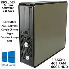 Cheap Dell Desktop PC Windows 10 Pro Computer Core 2 Duo Tower 4GB RAM 160GB