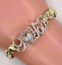 "10k Solid Yellow Gold ""I Love You"" CZ Heart Elephant Link Band Bracelet ~ 8 1/4"""