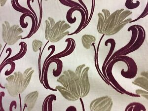 PALE GOLD/Cranberry design in Chenille on very heavy cloth.Stunning 3.5 METRE PC