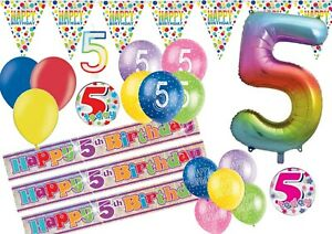 RAINBOW Happy 5th Birthday AGE 5 Party Balloons Banners Decorations Helium