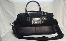 AUTHENTIC BLACK COACH LEATHER TRIM TRAVEL CARRY ON LUGGAGE DUFFLE BAG 91e626d329bf3