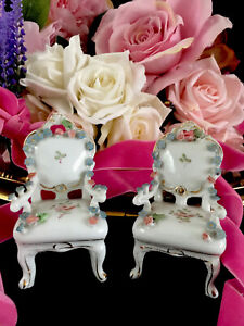 Porcelain  Encrusted Flowers  ALFRETTO Small chairs Ornaments Dolls House Set X2