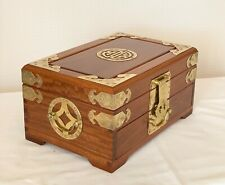 Large Vintage Bois de rose en bois bijoux bijou Chinois Box 12 x 8 x 6 Ins