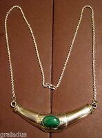 Collier,Halskette mit Anhänger,925er Silber,mit Edelstein: 1 Malachit