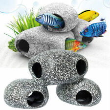 2 pcs Stone Rock Cave Aquarium Tropical Cichlid Fish Tank Ornam JI