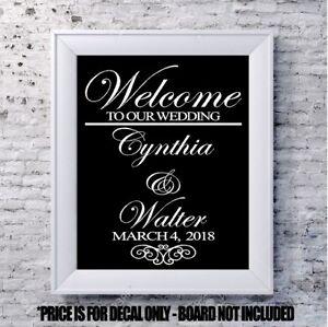 Custom wedding decal Welcome scroll personalized vinyl sign mirror chalk board