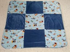 BOYS BABY CRIB RECEIVING BLANKET SMALL WONDERS BLUE PATCHWORK CONSTRUCTION TRUCK