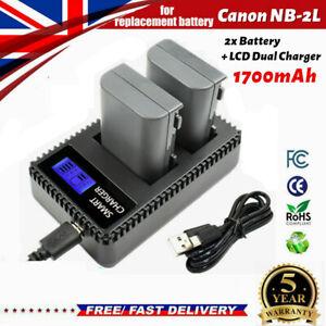 2x1700mAh NB-2L Battery+Dual Charger for Canon NB-2LH EOS 350D 400D Rebel Xt XTi