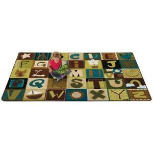 Carpets For Kids 11726 Toddler Alphabet Blocks - Nature 6 ft. x 9 ft. Rectang...